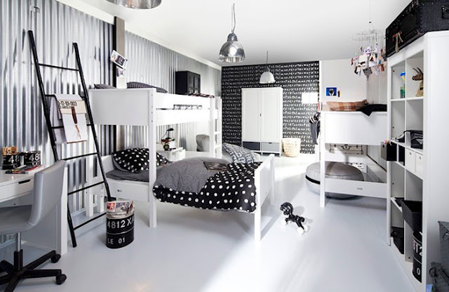 Black and white youth room trend for boys