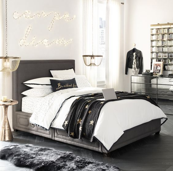 Black and white youth room trend for girls