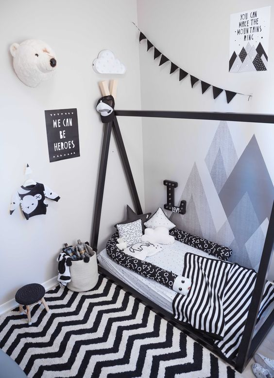 Black and white children's rooms