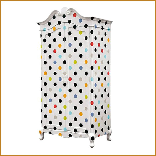 Children's wardrobe decorated with polka dots