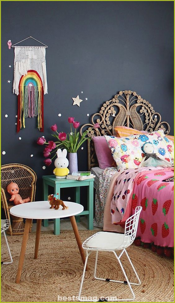 Children's room decorated with polka dots