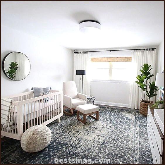 Round mirror baby room