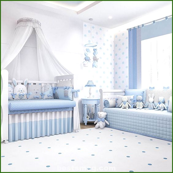Baby room in white and blue