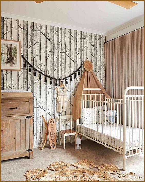 Forest baby room. Wood Cole & Son wallpaper