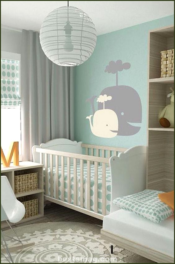 Gray and mint baby room