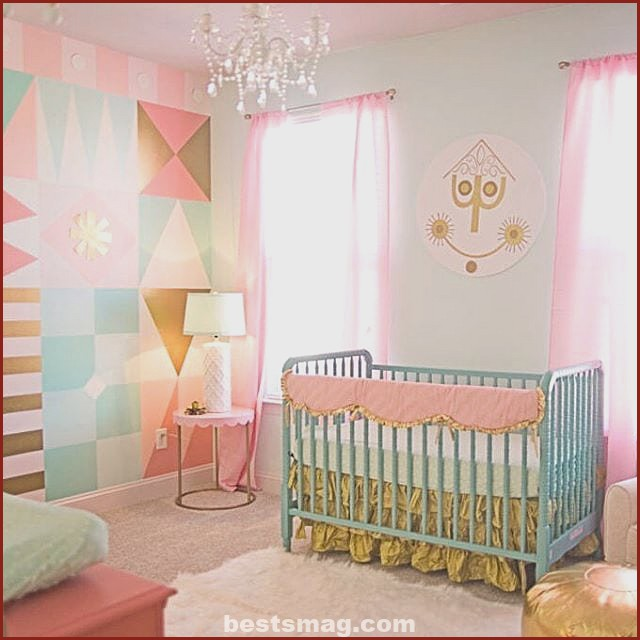 Pink and mint baby room