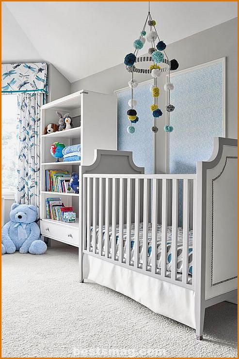 Gray and blue baby room