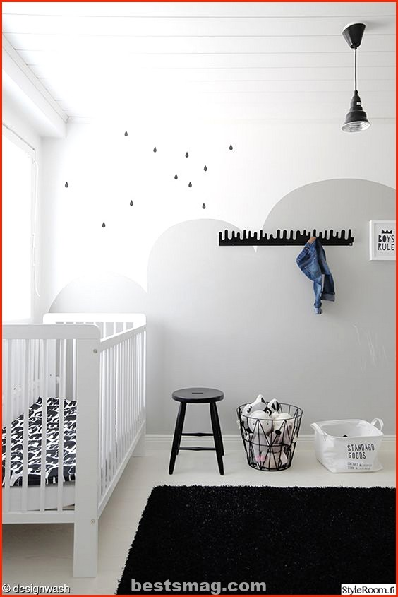 Gray and white baby room