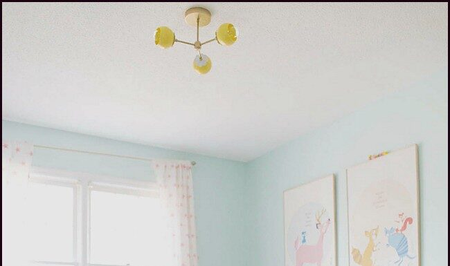 Blue and yellow bedroom for girl