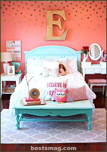 Girl's room decorated with her name