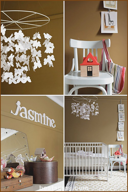 Paint the baby's room in brown tones