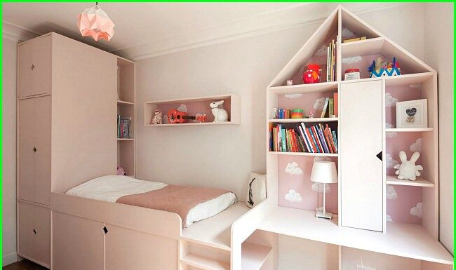 A well organized small bedroom