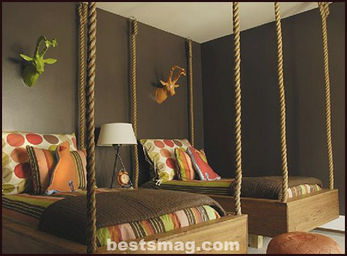 habitación infantil en marrón