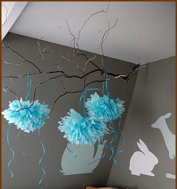decorar con pompones de papel
