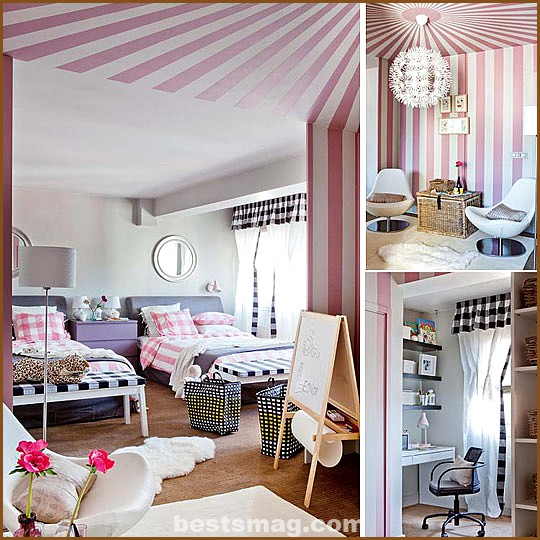 Shared Girls Room in Pink and Black