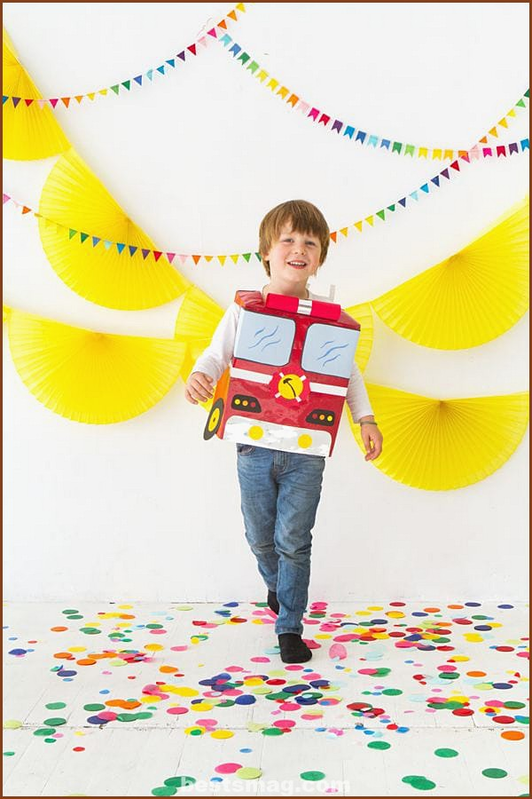 Firefighter truck costume with paper bag