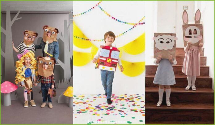 Disfraces hechos con bolsas de papel
