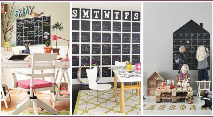 Chalkboard calendar for kids bedrooms