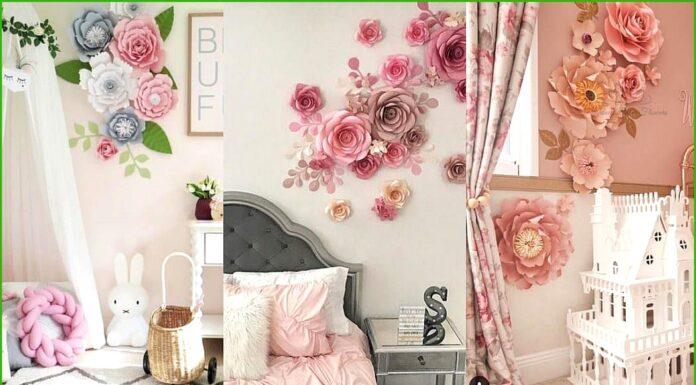 Flores de papel para decorar una pared infantil