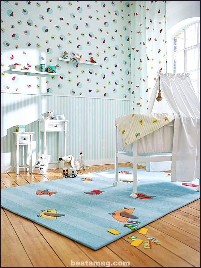 Papel pintado y cortina a juego bebés