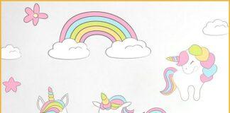 Unicorns stickers to decorate children's rooms