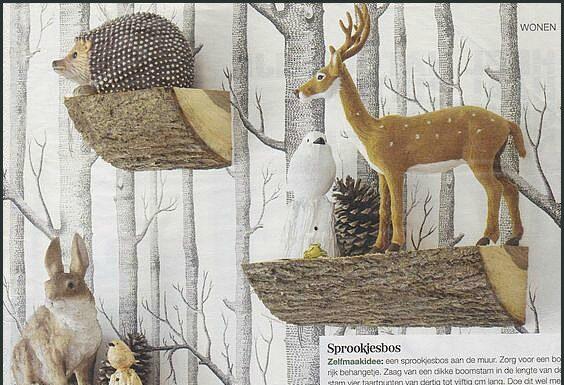 Creative walls: log shelves