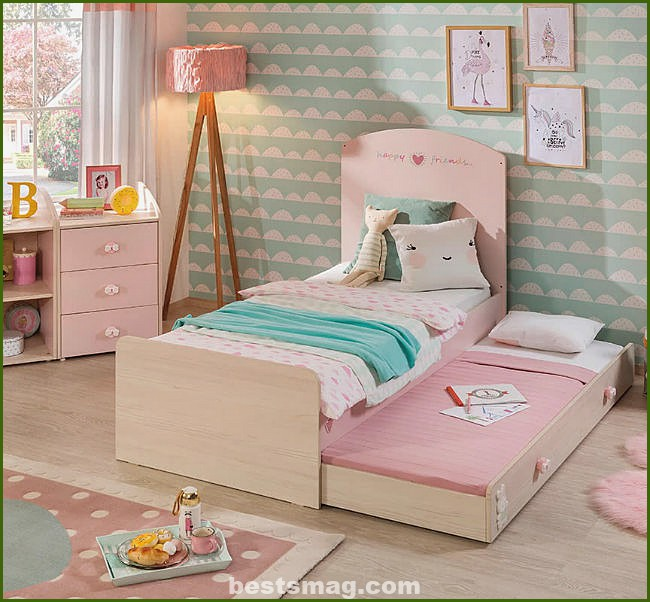 Baby girl bed with trundle bed