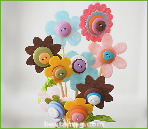 Felt flower bouquet for Mother's Day