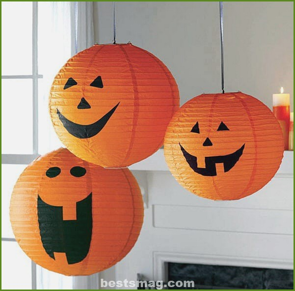 Halloween pumpkin with paper lamp
