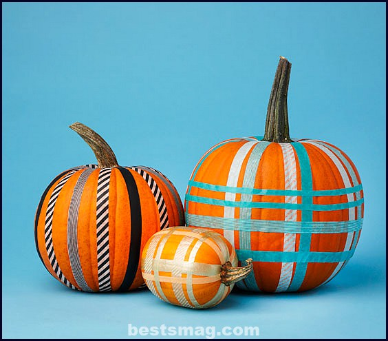 Decorate pumpkins with Washi Tape