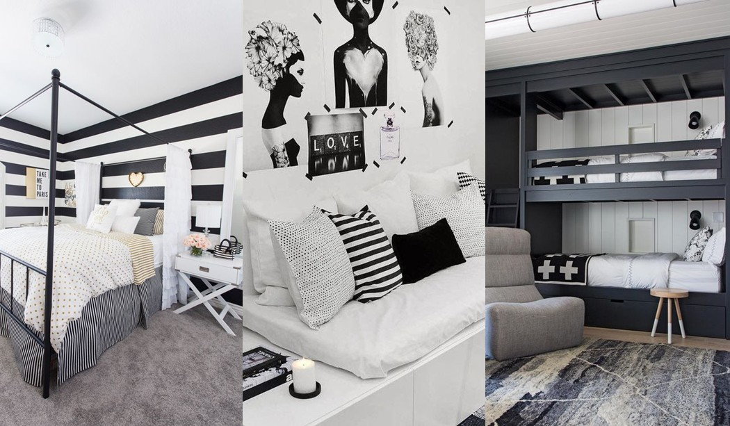 Black and white youth room trend
