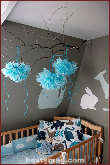 decorate with paper pom poms