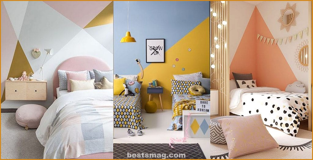 Geometric walls rooms for children, youth, babies, children,