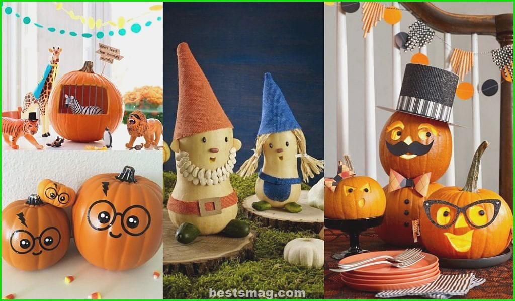 Decorate children's Halloween pumpkins